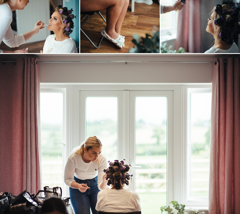 Makeup artist applying natural looking makeup to a bride