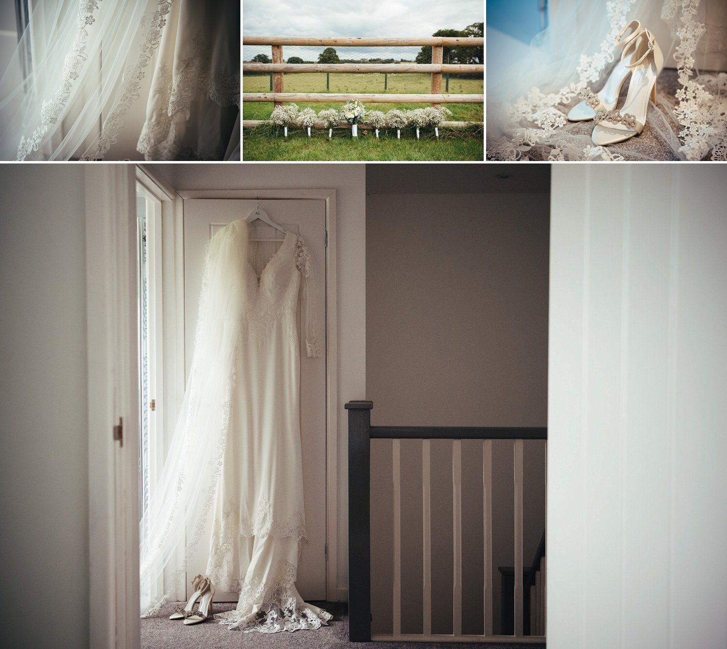 Wide and closeup photos of a wedding dress, veil, weddign shoes and bride and bridesmaids' bouquets
