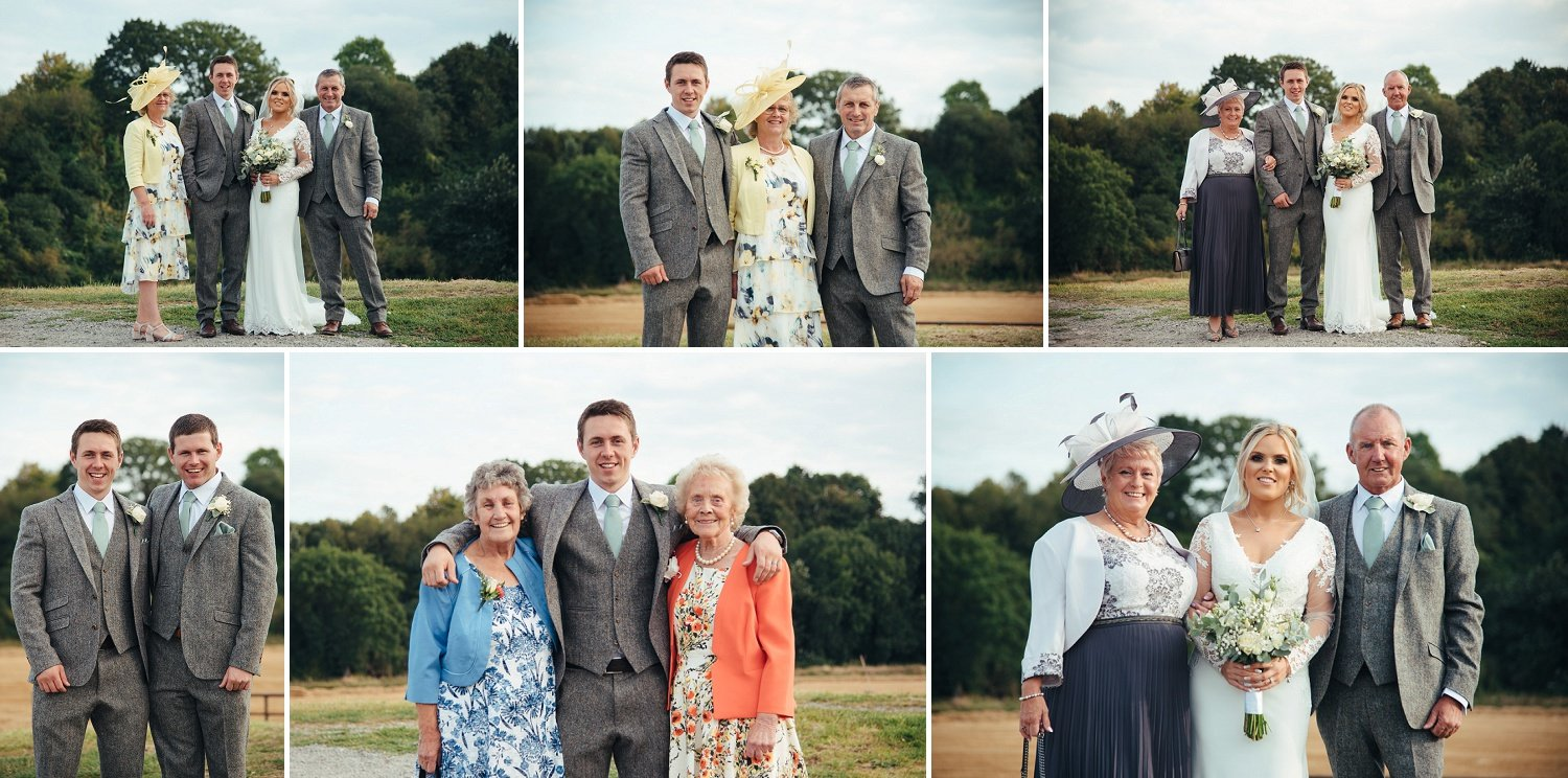 Outdoor Formal photographs of bride and groom with their parents, siblings and grandparents