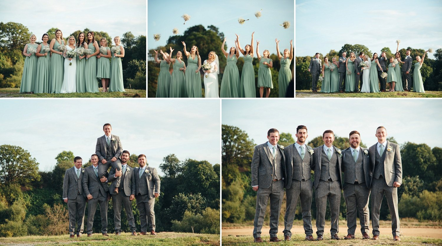 Outdoor formal photos of bride and groom with their bridesmaids and groomsmen
