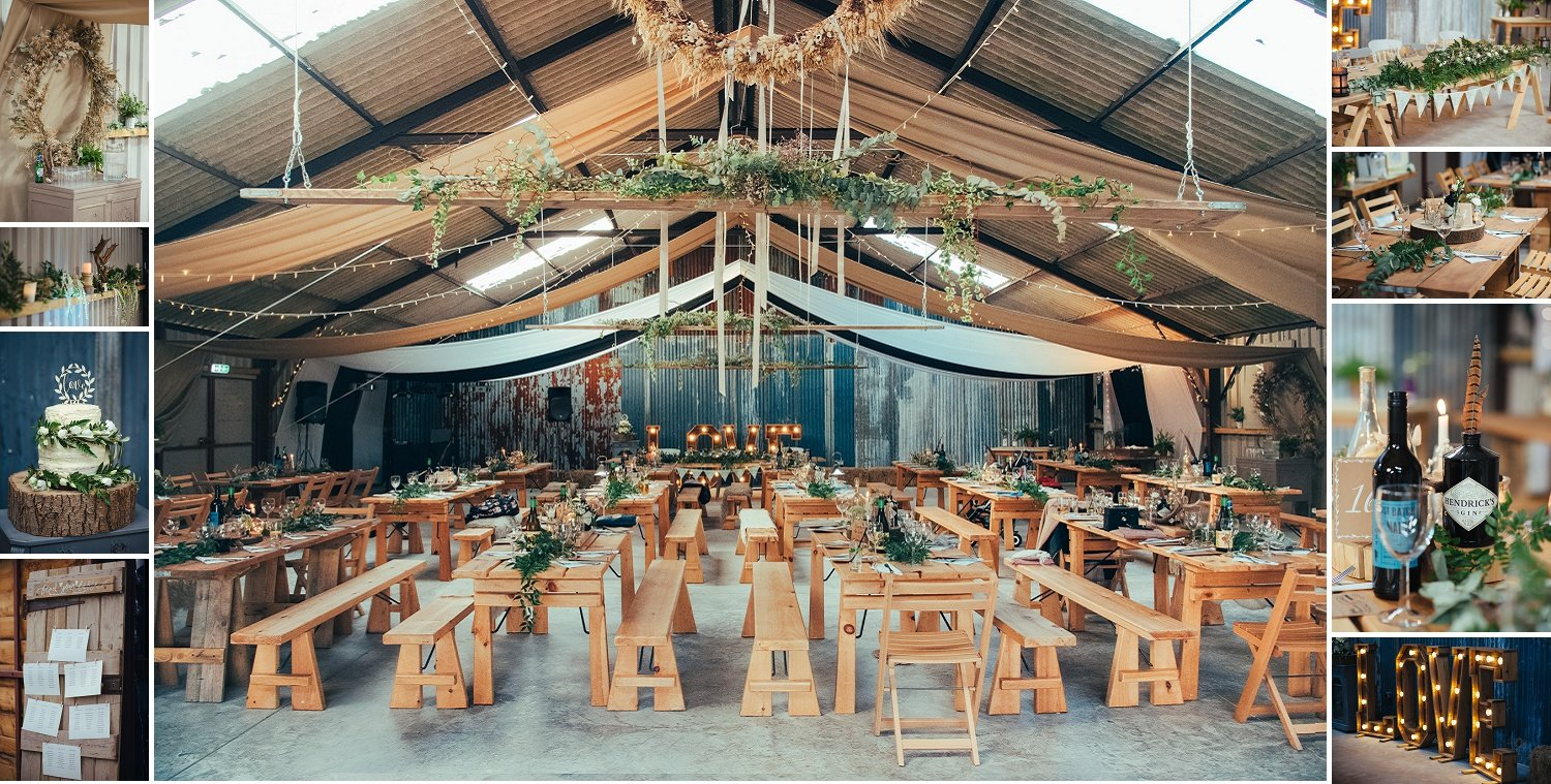 Table arrangement and American ranch style decor at a Barn wedding at Redbank in Herefordshire