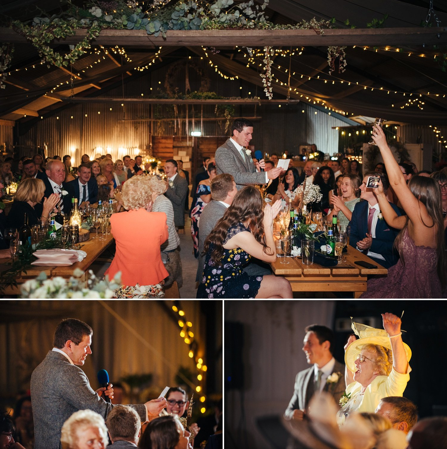 Wedding speeches at a barn wedding in Herefordshire