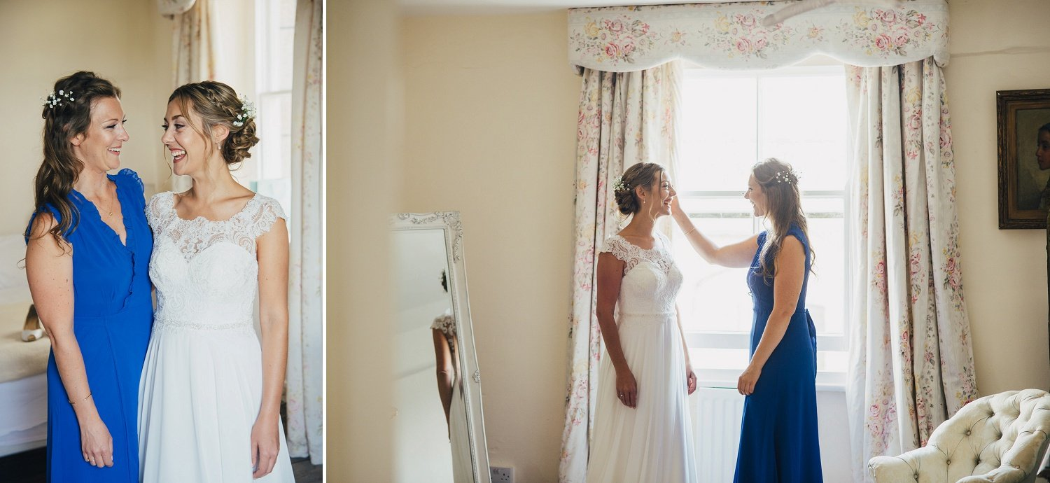 Quiet moment between the bride and her sister before the ceremony