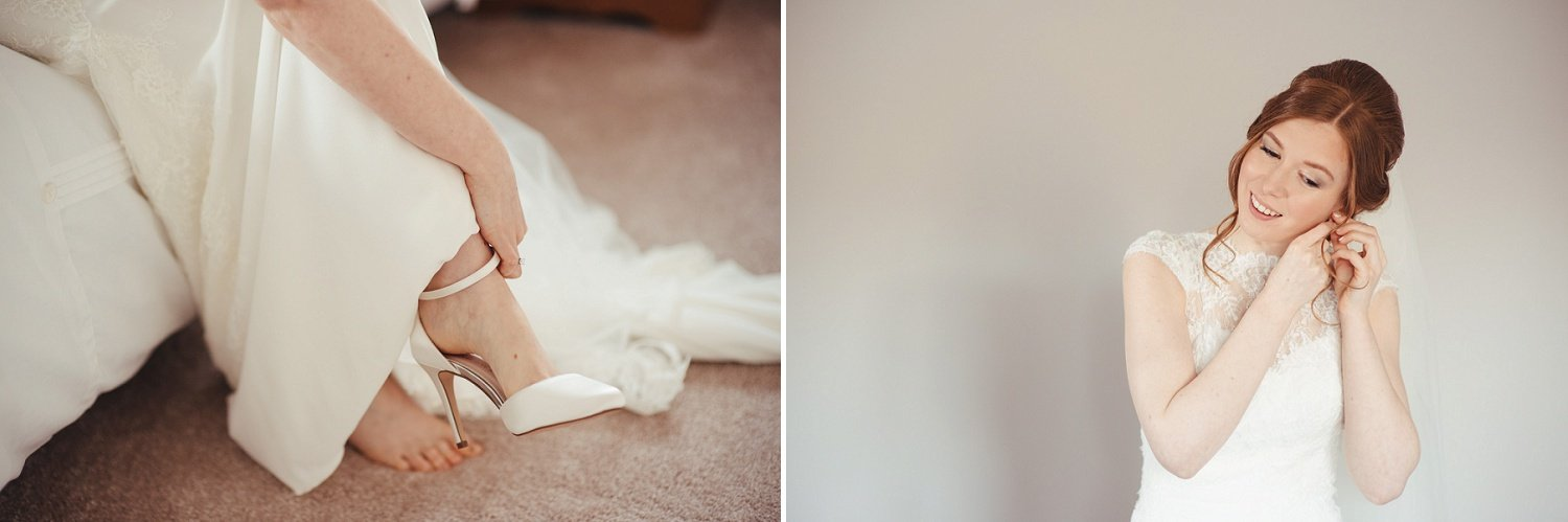 Bride puts on her wedding shoes from Rainbow Club Shoes and earrings from Marlow's