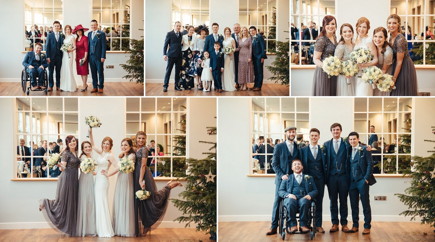 Formal photographs with parents, bridesmaids and groomsmen, indoors at Bredenbury Court