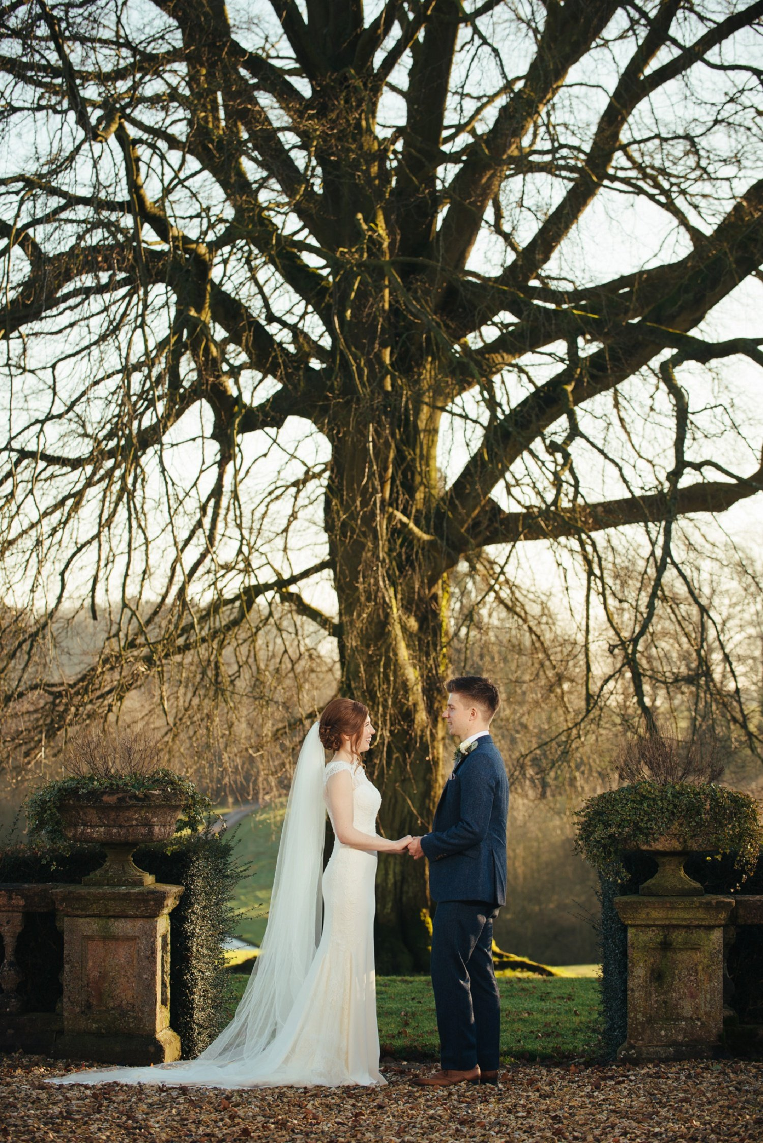 Bride and groom picture in from of a tall old tree, in December, at Bredenbury Court Herefordshire