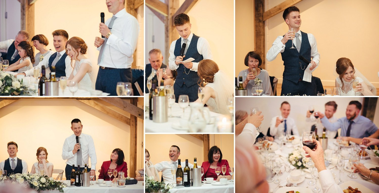 Happy faces, laughter and a toast during speeches at Bredenbury Court in Herefordshire