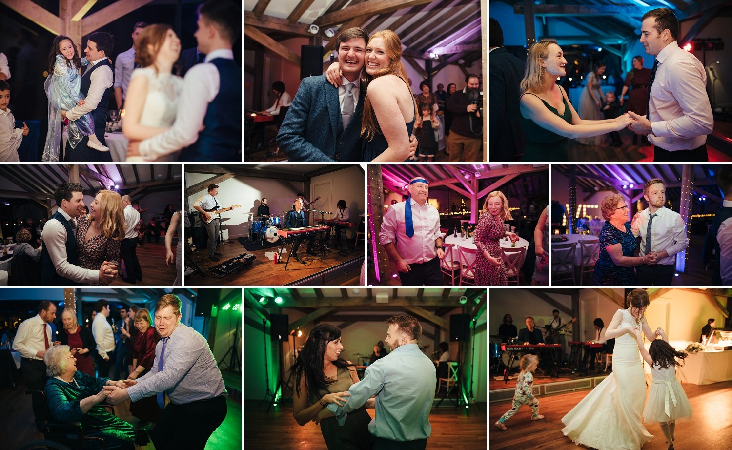 Wedding party in the Contemporary renovated Oak barn at Bredenbury Court in December