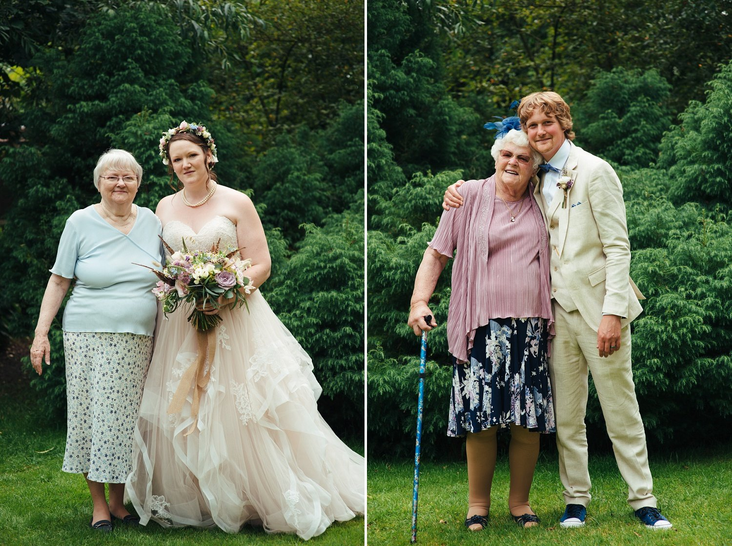 Bride and groom with their nans - portrait