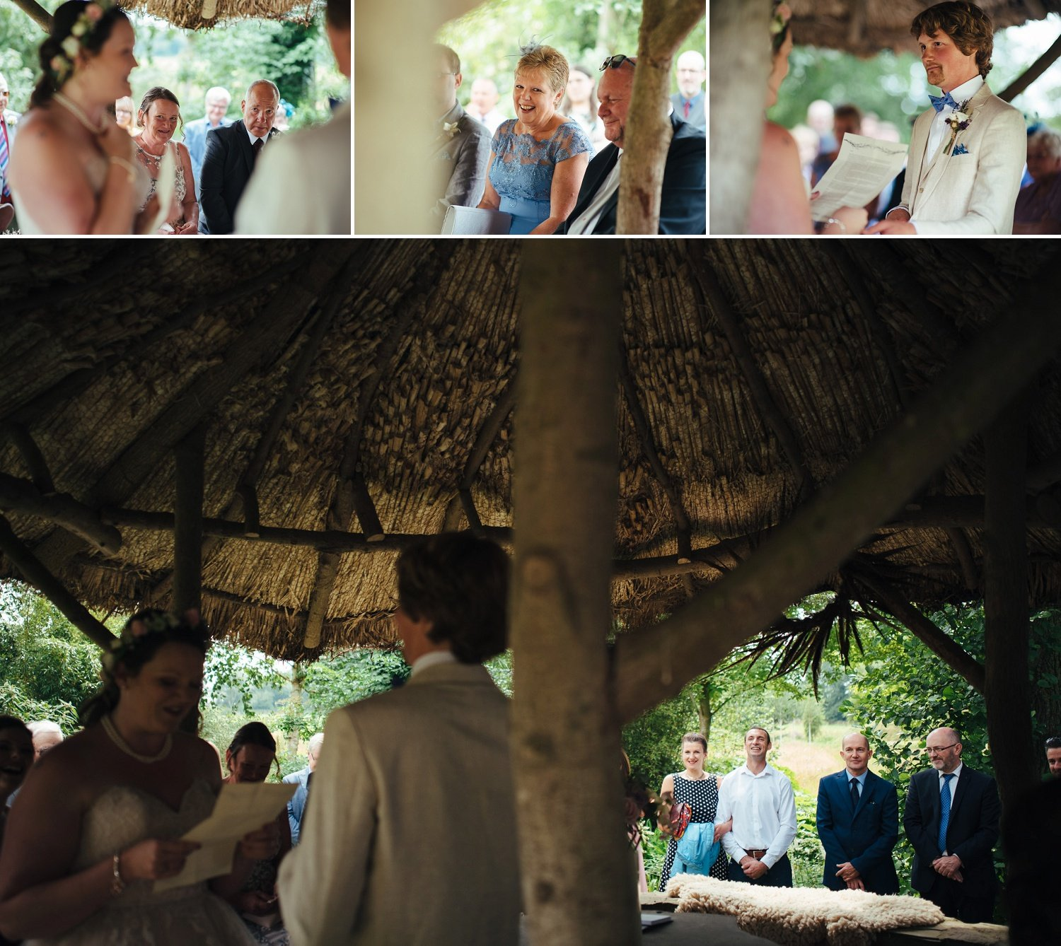 Marriage vows being read in the hut at Westonbury Mill Water Gardens