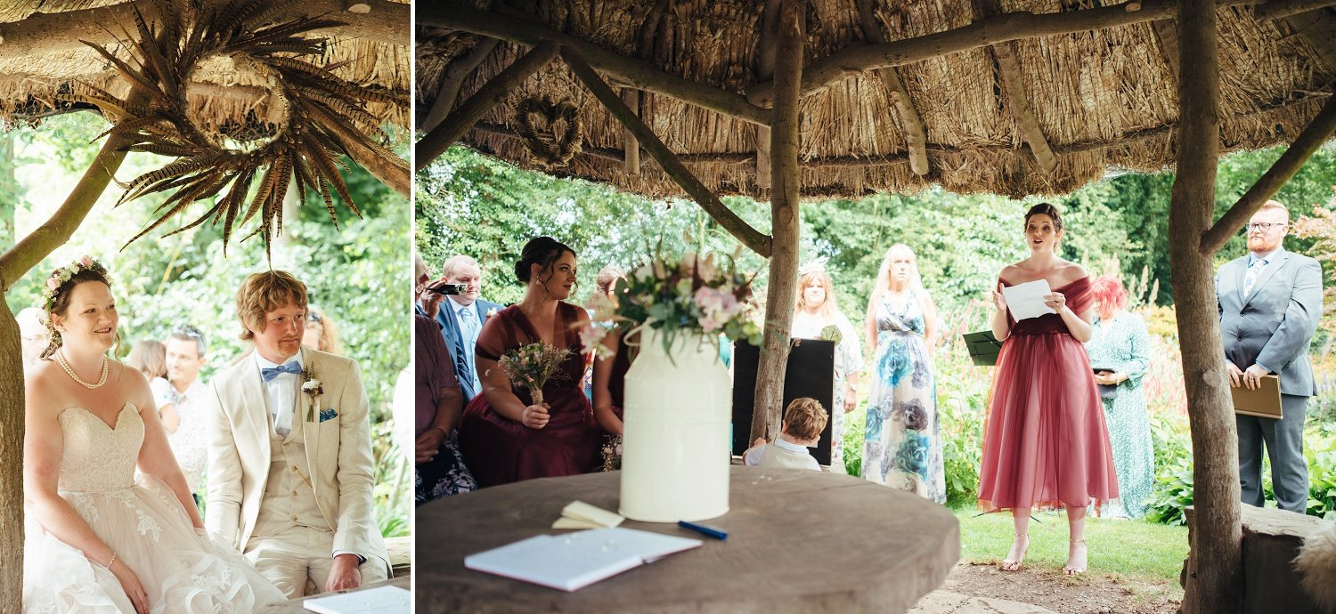 Wedding ceremony in the middle of nature at Westonbury Mill Water Gardens