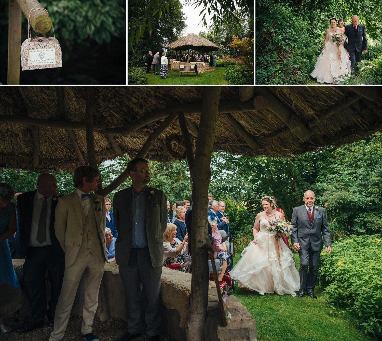 Dad is walking the bride down the Garden aisle at Westonbury Mill Water Gardens