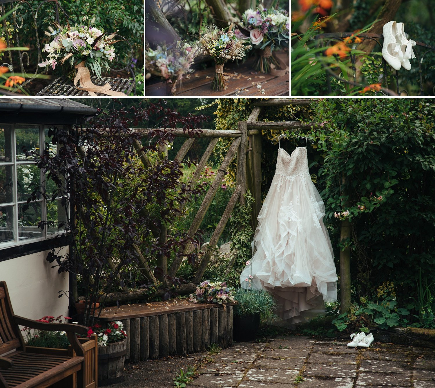 Wedding dress hanging in the gardens at Yew Tree Cottage near Pembridge. Bouquets by Issy and Bella florst.