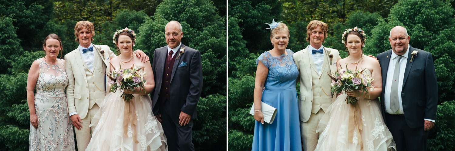 Bride and groom with parents formal photographs