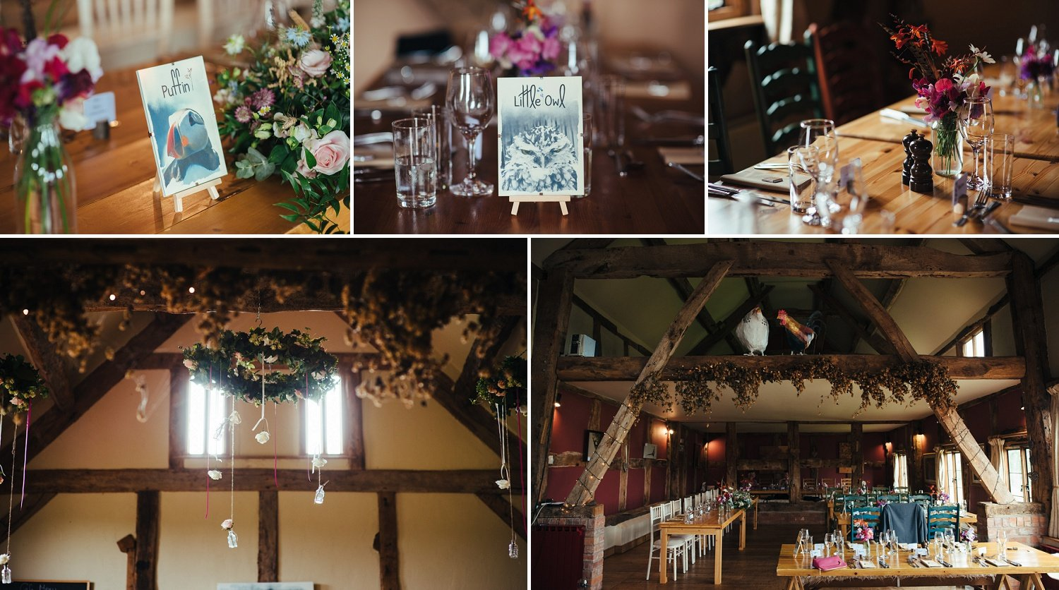 nature inspired wedding decor at Cider Barn in Herefordshire