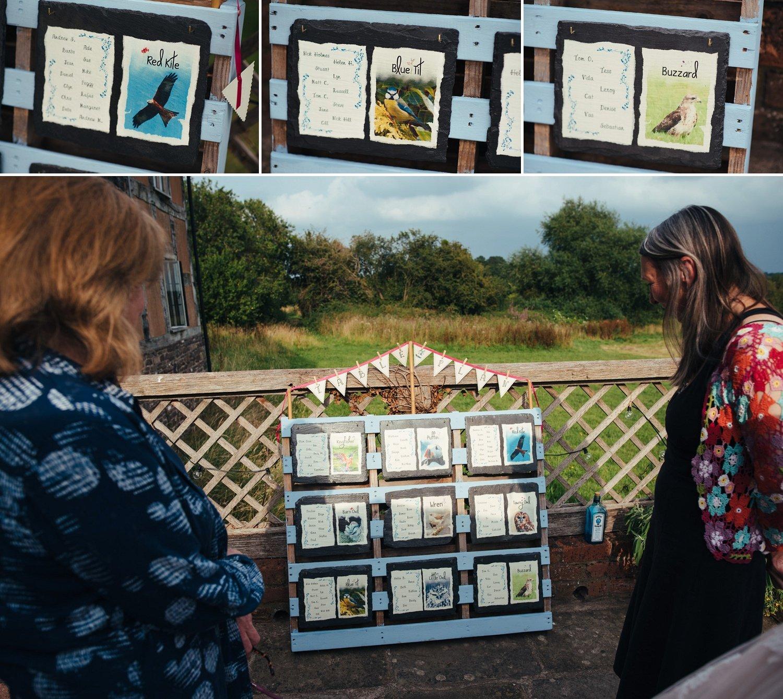 Wedding Table plan using photos of wild birds taken by the groom, Gareth Roberts.
