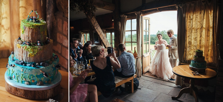 Skomer Island themes wedding cake at the Cider Barn