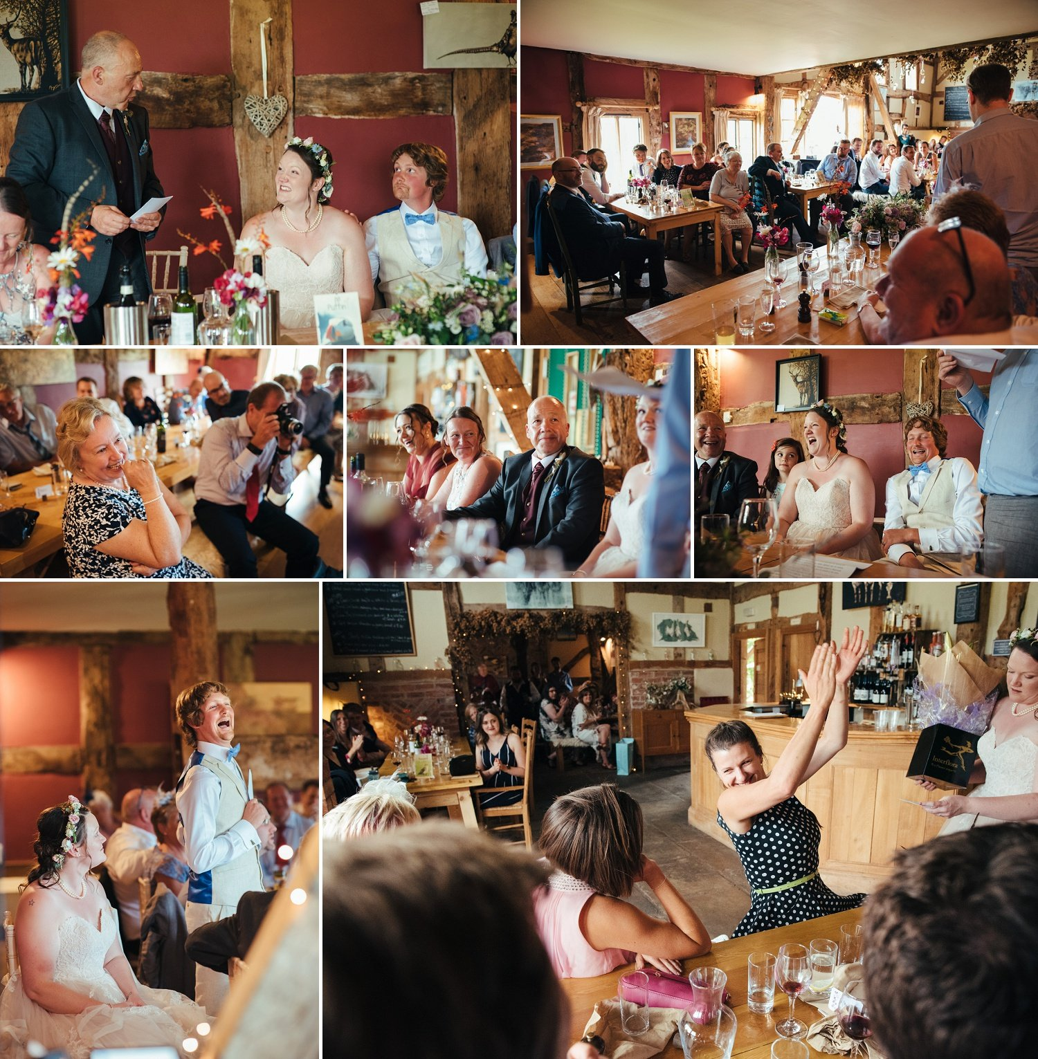 Wedding speeches by Cat Beardsley photography at the Cider barn in Pembridge