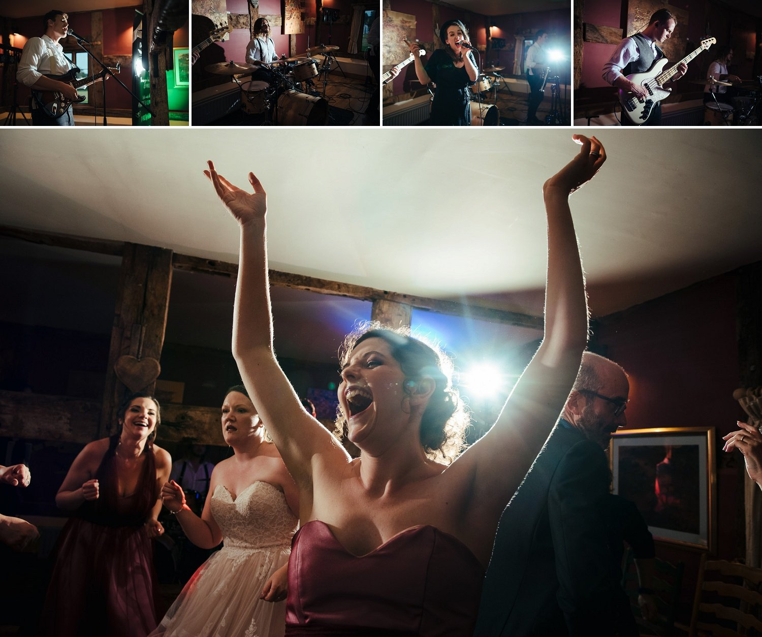 Bridesmaid dancing happily on tunes by the Festival Heart band at the Cider Barn