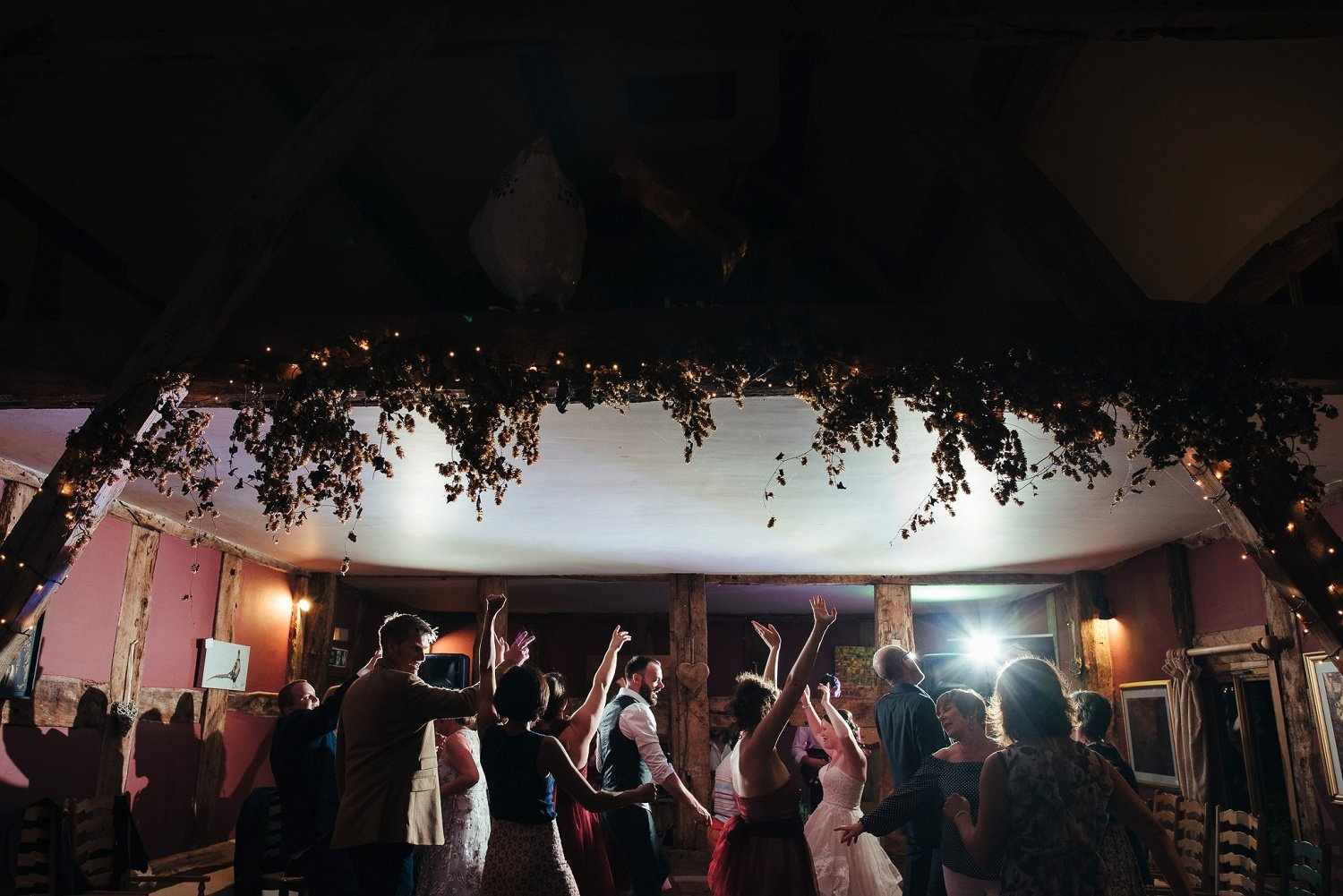 Festival Heart wedding band at the Cider barn in Herefordshire
