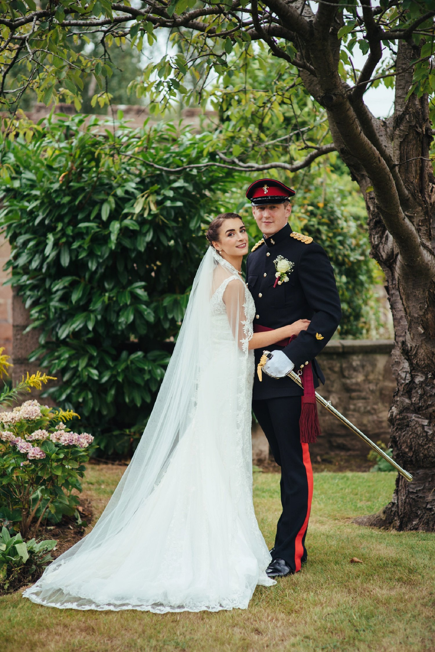 Bride and groom portrait at Glewstone Court