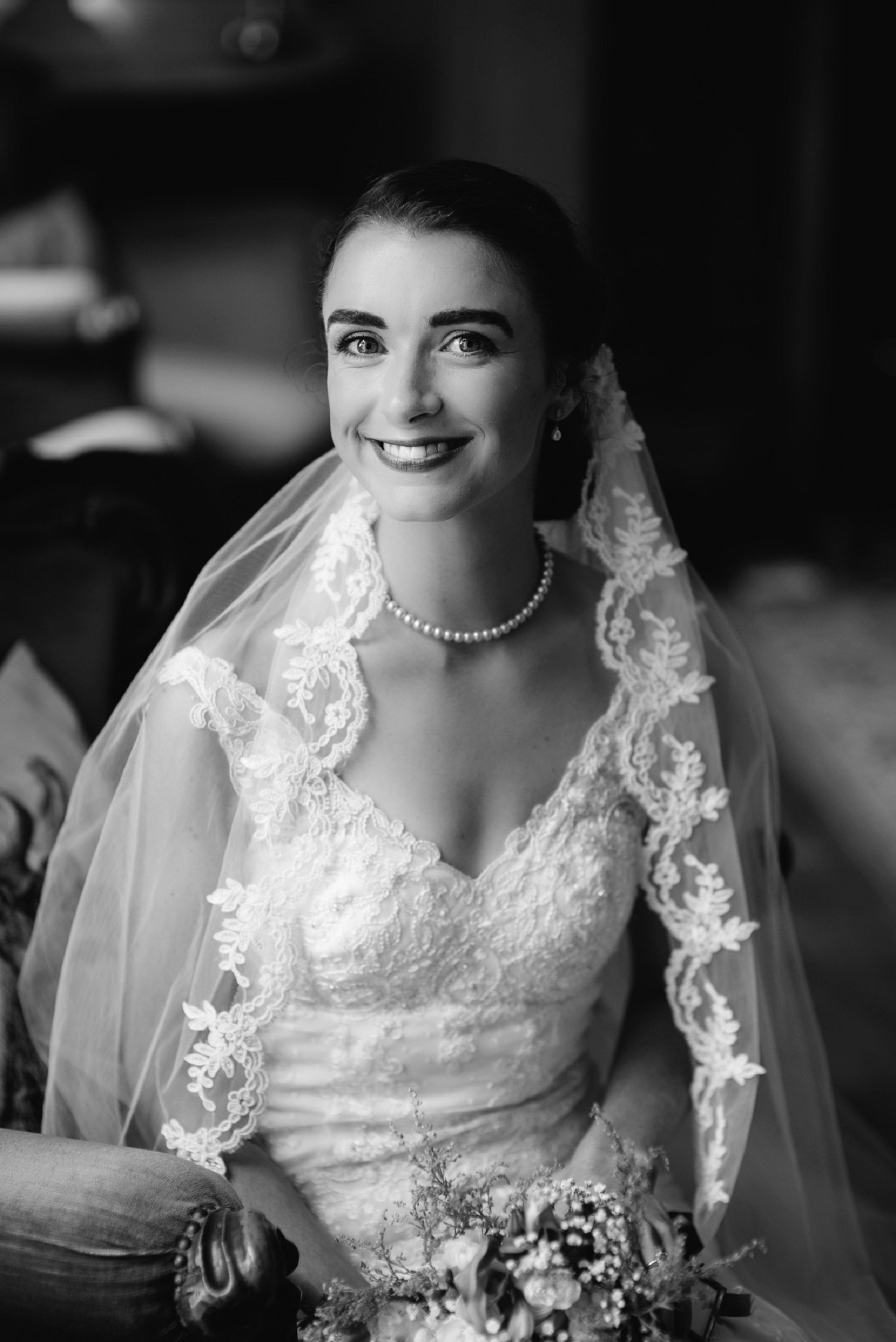 Black and white bride portrait at Glewstone Court