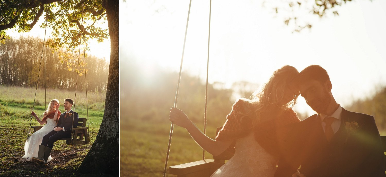 Bride and groom photos on the swing by the lake at Tree Top Escape, Devon
