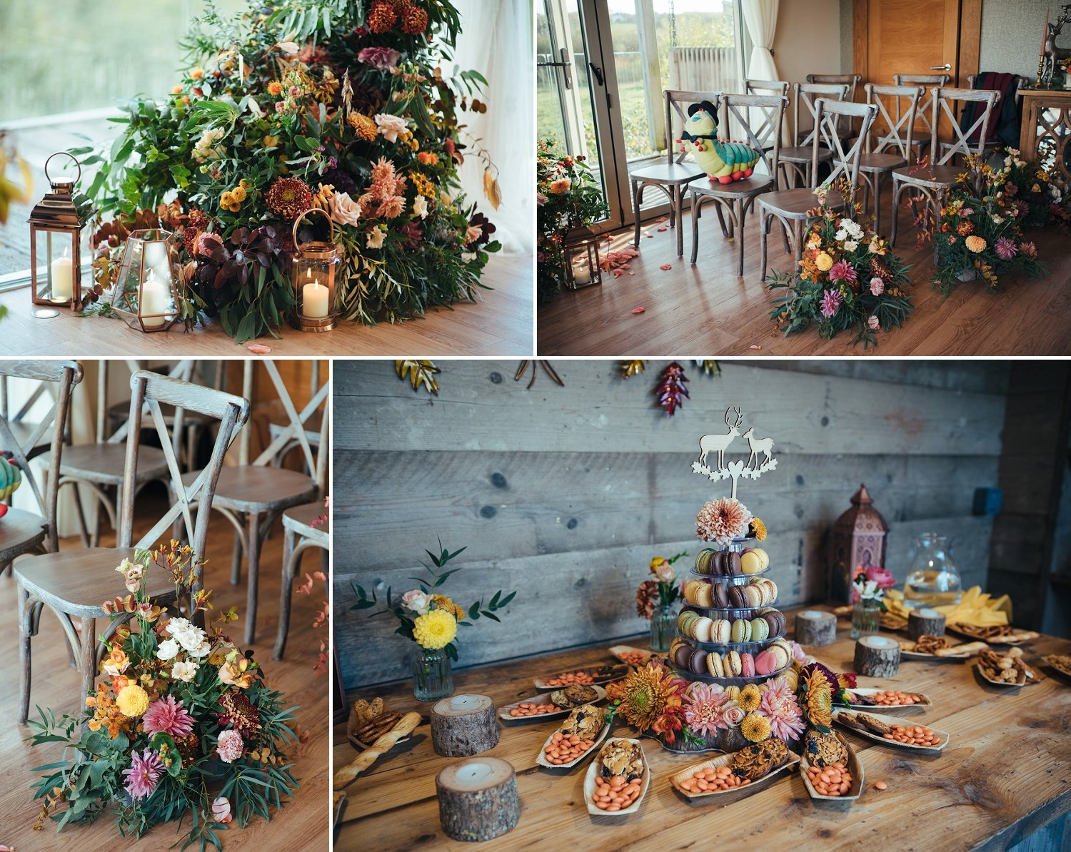 Autumnal floral arrangements fora wedding ceremony by Jenny Fleur, a florist from Herefordshire, UK