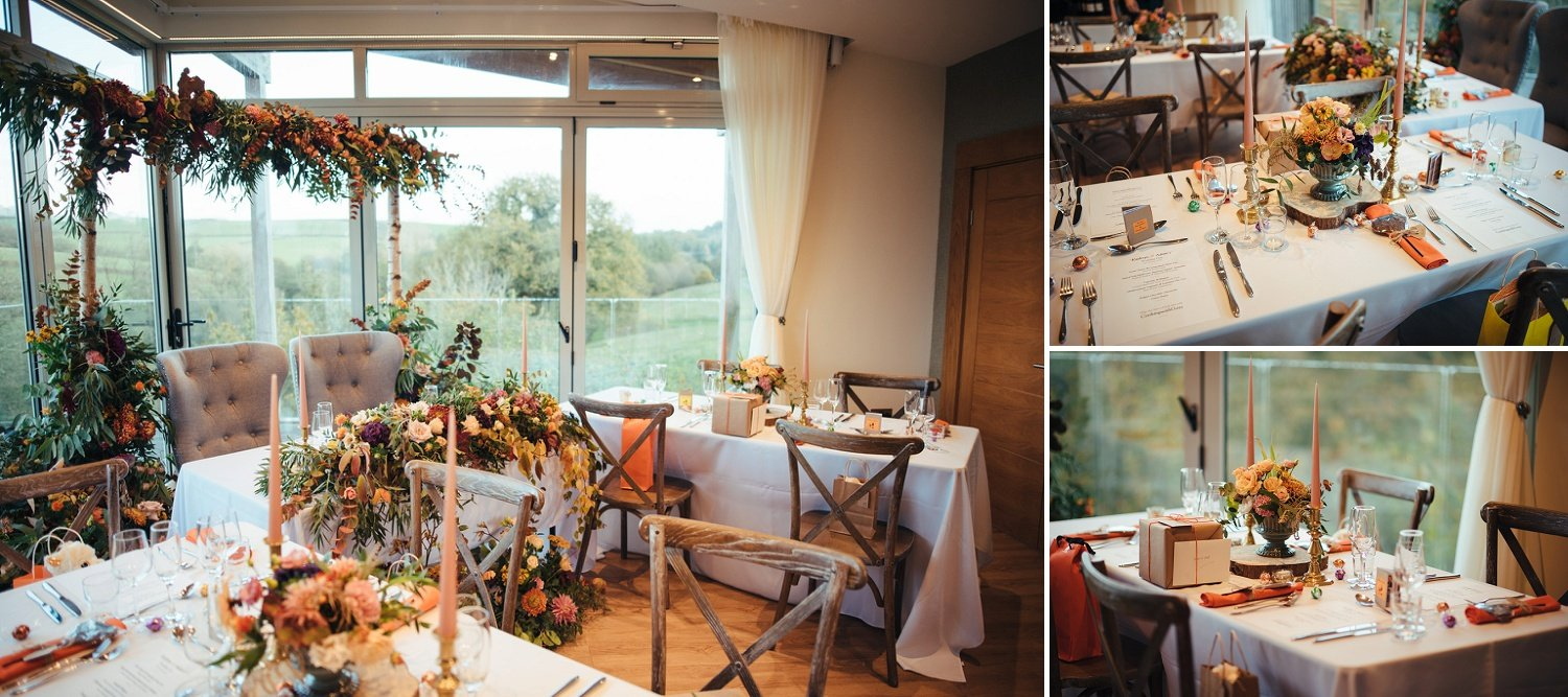 Wedding tables at Tree Top Escape, Devon, flowers by Jenny Fleur Florist