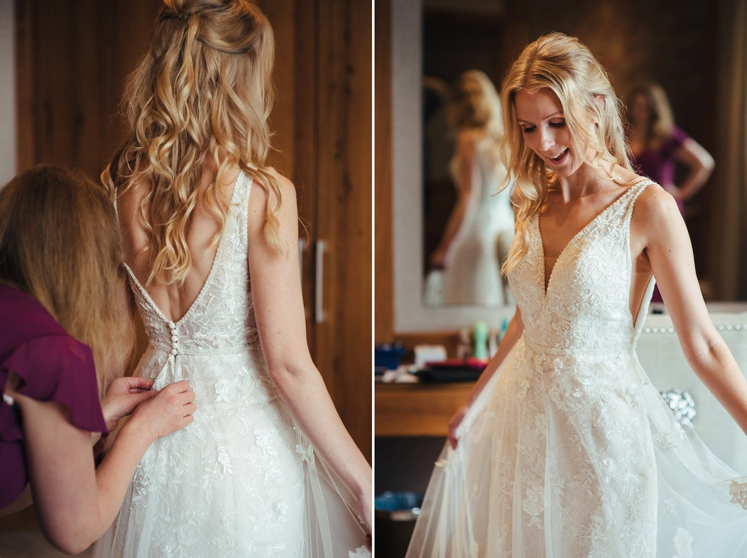 Bride getting in her wedding dress and feeling like a princess