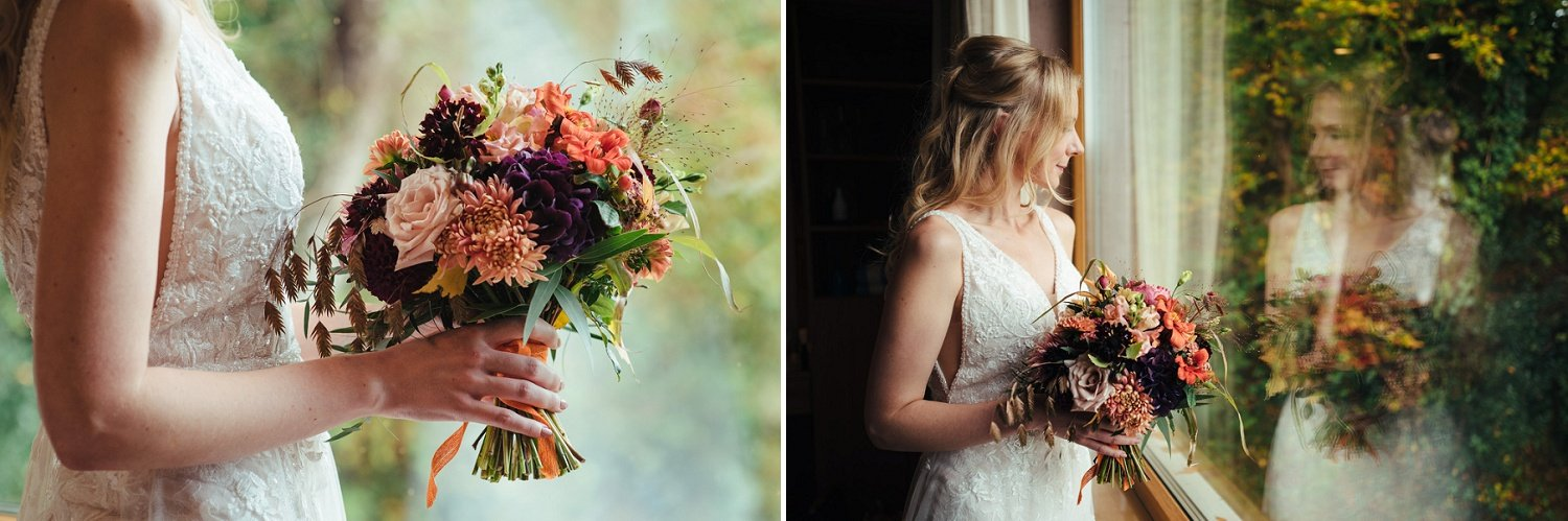 Autumn dhalias and chrisanthemums wedding bouquet