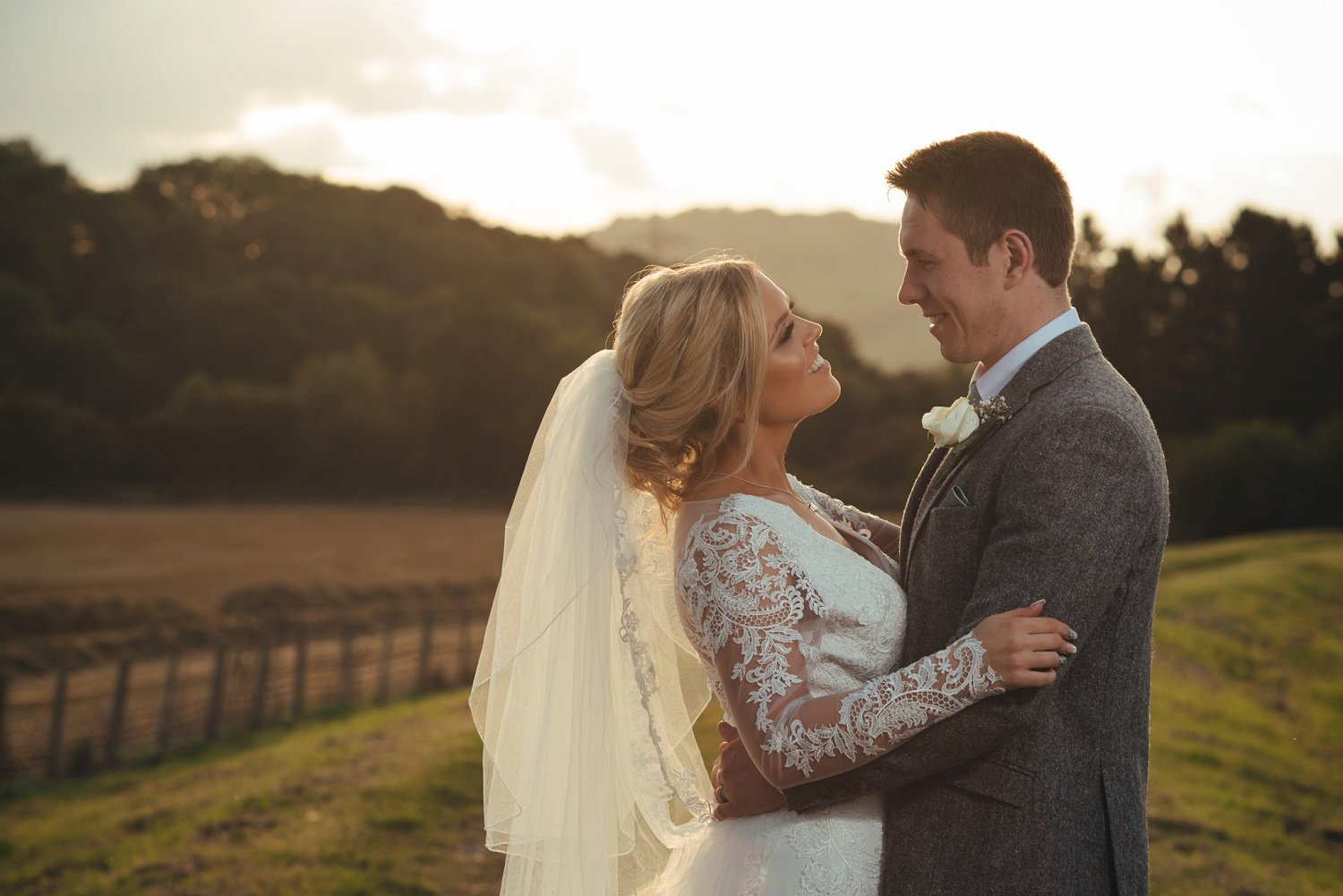 Bride and groom photo at their barn wedding at Redbank in Herefordshire